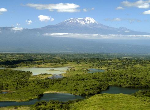 Uitzicht op de Kilimanjaro vanuit Arusha Nationaal Park
