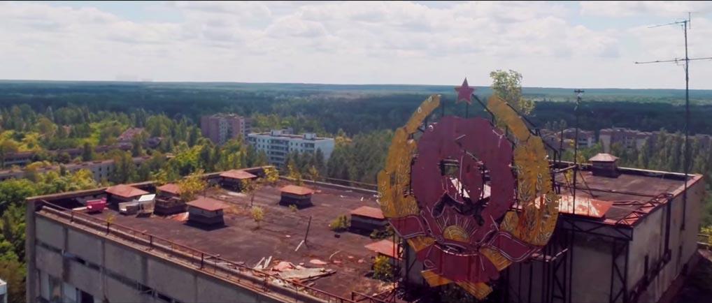 Drone film boven Chernobyl