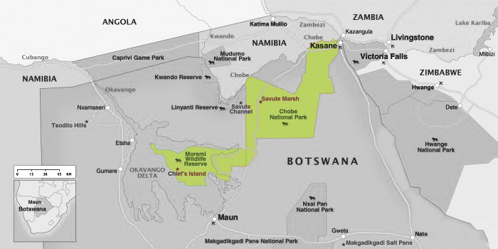 Kaart Chobe nationaal park in Botswana