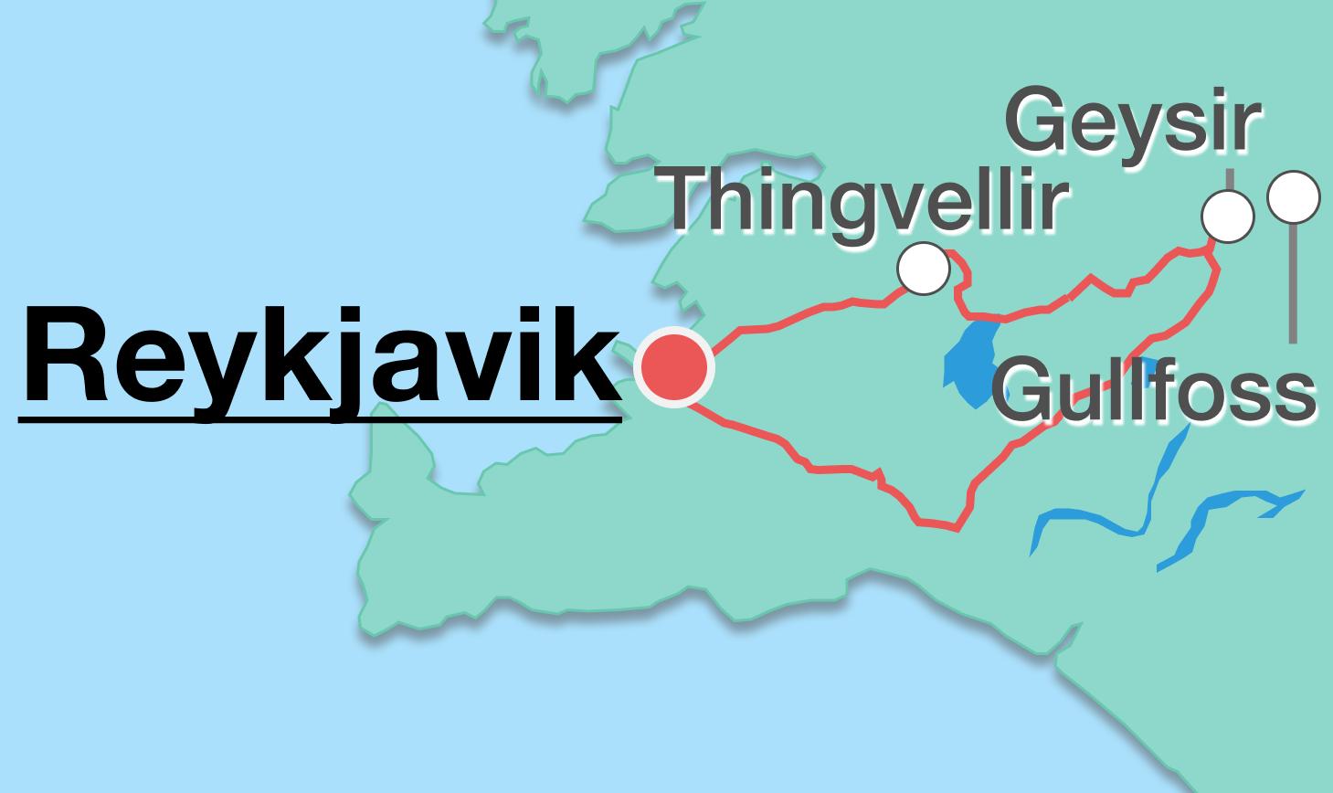 Kaart van de route van de Gouden Cirkel in IJsland van Reykjavík, naar Thingvellir, naar Geysir, naar Gullfoss en teug naar Reykjavík